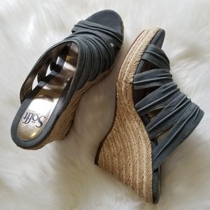 Sofft Blue Gray Open-Toe Espadrille Wedge Sandal